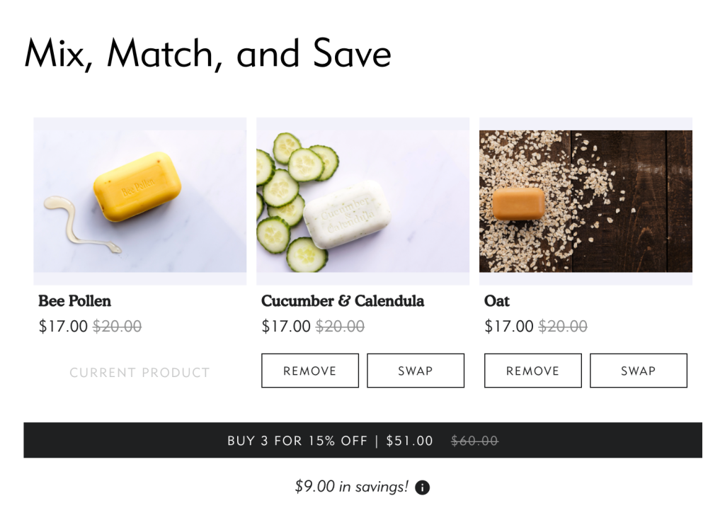 "Example promotion: ""Mix, Match & Save."""